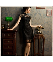 Two-piece Lace Oriental Black Qipao 2048-99 兩件套蕾絲黑色旗袍