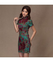 Chinese Eaglewood Linen Qipao 2111-50 (Size M) 沉香棉痲復古旗袍
