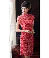 Classic 2-PC Red Lace Qipao 2049-28 (Size M) 經典兩件式蕾絲紅色旗袍