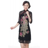 Mid Sleeve Pheonix Embroidery 2-PC Black Lace Qipao 2203-99 (Size S)