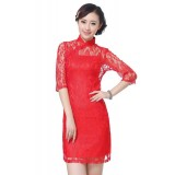 Half-sleeves 2-PC Red Lace Qipao 2207-28 (Size M)
