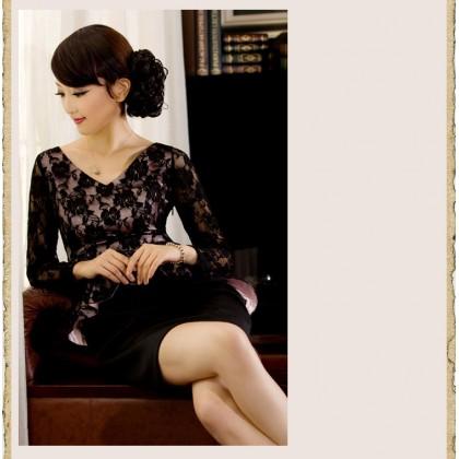 Long Sleeve V-neck Lace Noble Dress 3007-99 九分袖V領蕾絲優雅貴族連衣裙
