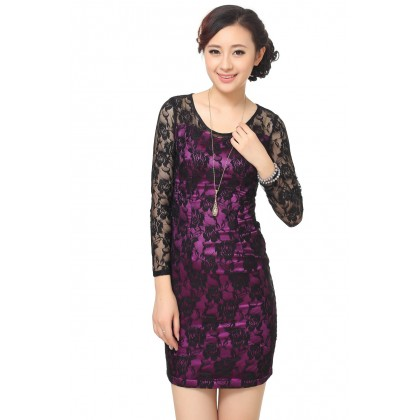 Purple Long Sleeve Lace Slim Dress 3008-80