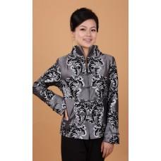 Elegant Woman's Dark Grey Mandarin Jacket 4005-92 (XXL) 優雅織錦緞深灰鳳尾唐裝