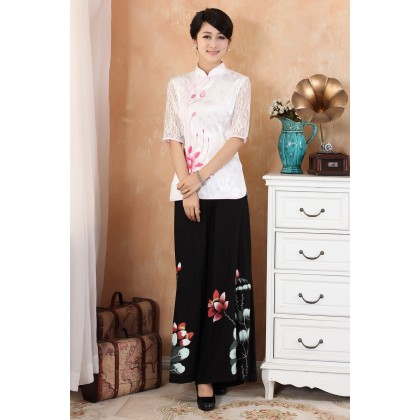 Mid-sleeve Red Qipao Top 5007-28 (Size S)