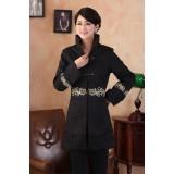 Chinese Cotton Black Trench Coat 6001-99 (Size M, L) 中長純棉黑色風衣