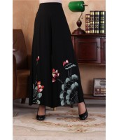 Hand Painting Lotus Wide Leg Pants 7001-99 手繪印花黑色闊腿褲
