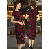 Maple Leaf Vintage Midi Qipao 1103-28 楓葉圓領復古中長旗袍