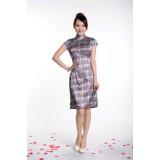 Silk-like Grey Check Qipao 2058-90 (SIze S)