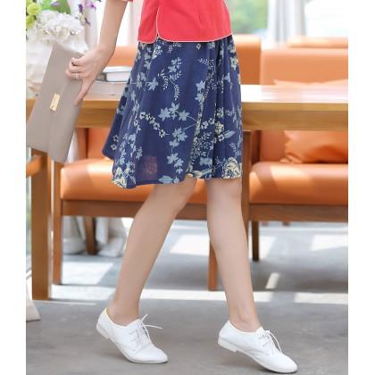Linen Mini Skirt - Blue Peony 8107-70 百搭棉麻裙-藍牡丹