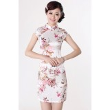 Pretty Elegant Off White Satin Qipao 2073-02 優雅綢緞米色旗袍