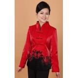 V Neck Mandarin Jacket Red 4010-28 (Size L) V領棉類優雅紅色唐裝