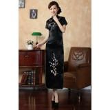 Satin Plum Blossoms Embro. Black Long Qipao 1008-99 (XL)
