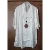 Polyester Short Sleeves Beige Shirt 11009-03 (XXL, XXXL) 短袖奶白功夫衫