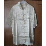 Polyester Short Sleeves Beige Shirt 11010-03 (XXL)