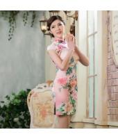 Jiangnan Peony Pink Silk Qipao 2083-20 江南牡丹粉色絲綢旗袍