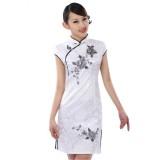 Elegant Peony Embroidered White Qipao 2084-01 優雅黑白牡丹綉花旗袍