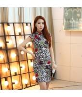 Hangzhou Vintage Stretchable Linen Grey Qipao 2118-90 杭州復古彈力亞麻灰色旗袍