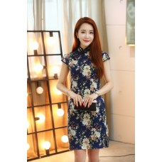 Hangzhou Vintage Dark Blue Linen Qipao 2119-76 杭州復古亞麻藏青藍旗袍