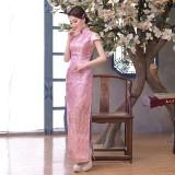 Elegant Pink Brocade Maxi Cheongsam 1013-20 (Size S) 淡雅粉色織錦緞長旗袍