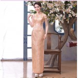 Elegant Light Orange Brocade Maxi Cheongsam (Size XL) 1013-32 淡雅淺橘織錦緞長旗袍