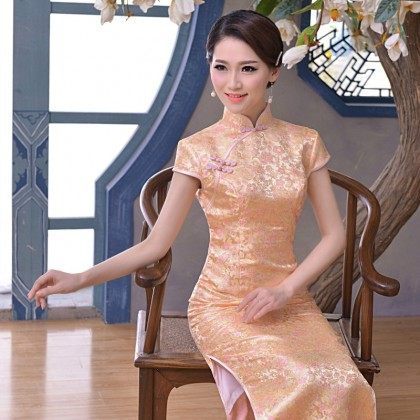 Elegant Light Orange Brocade Maxi Cheongsam (Size XL) 1013-32 淡雅淺橘織錦緞長旗袍