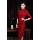 Vintage Red Plum Blossoms Mid-Sleeve Midi Cheongsam 1120-28 (Size XL)