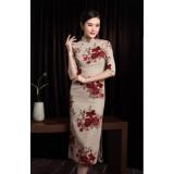 Vintage Roses Mid-Sleeve Linen Midi Cheongsam 1121-29 上海復古滿園玫瑰中袖中長旗袍