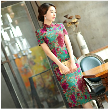Shanghai Vintage Eaglewood Linen Midi Qipao 1124-50 上海復古沉香中長棉麻旗袍