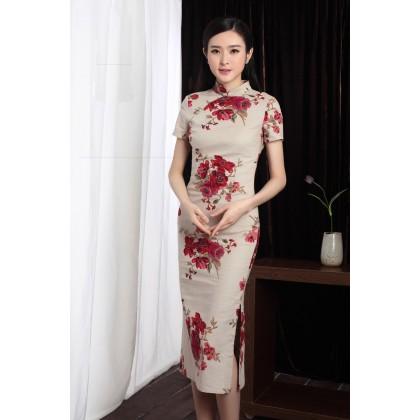 Shanghai Vintage Roses Linen Midi Qipao 1123-29 上海復古滿園玫瑰中長棉麻旗袍