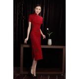Shanghai Vintage Plum Blossoms Red Midi Qipao 1122-28 上海復古蘇梅紅中長棉麻旗袍