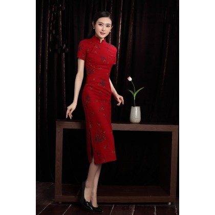 Shanghai Vintage Plum Blossoms Red Midi Qipao 1122-28 (Size M)