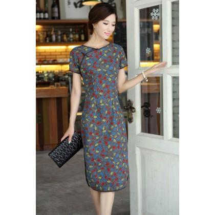Round Neck Begonia Linen Midi Qipao 1117-90 圓領海棠中長棉麻旗袍