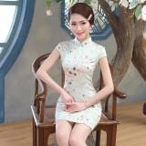 Jiangnan Silk Plum Flowers Green Qipao 2088-50 江南絲綢小梅花綠色旗袍