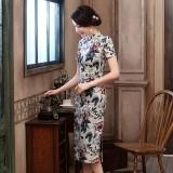 Black Plum Linen Midi Qipao 1125-03 墨梅亞麻中長旗袍