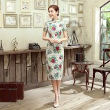Floral Linen Midi Qipao 1128-52 花間亞麻中長旗袍