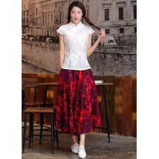 Linen Maxi Skirt - Wisteria 8013-28 紫藤棉麻大擺長裙