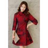 Mid Sleeves Bright Red Chinese Dress 3010-29 (Size XXL) 七分袖艷紅中式連衣裙