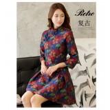 Mid Sleeves Jade Cherry Chinese Dress 3010-70 七分袖玉櫻中式連衣裙