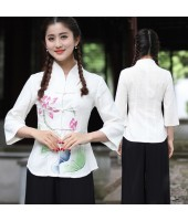 Mid Sleeves 30s Chinese Lady Blouse - Off White 5010-02 亞麻民國淑女中袖米白上衣
