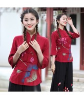 Mid Sleeves 30s Chinese Lady Blouse - Red 5010-28 亞麻民國淑女中袖紅色上衣