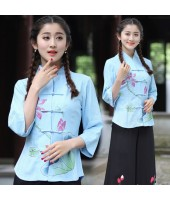 Mid Sleeves 30s Chinese Lady Blouse - Blue 5010-70 亞麻民國淑女中袖藍色上衣
