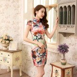 Flowery Age Cotton Red Qipao 2089-28 (Size XL)