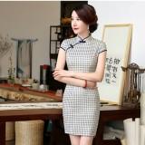 Blue Plaid Cotton Spandex Qipao 2090-70 杭州藏青格子彈力棉旗袍