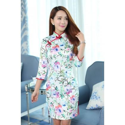 Hangzhou Charming Cotton Qipao 2092-50 杭州中袖棉料韻味旗袍