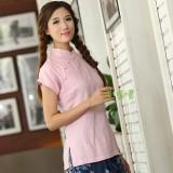 Retro Linen Chinese Top - Pink 5011-20 (Size XXL) 文藝復古粉色棉麻旗袍上衣