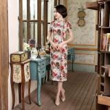 Old Shanghai Colourful Vintage Midi Qipao 1131-00 老上海萬紫千紅棉麻中長旗袍