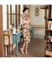 Old Shanghai Pretty Lass Vintage Midi Qipao 1132-30 老上海風情虞美人棉麻中長旗袍