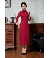 Vintage Dark Red Midi Linen Cheongsam 1133-29 民國復古暗紅中長棉麻旗袍