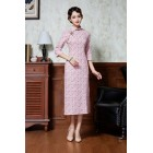 Vintage Pink Floral Midi Linen Cheongsam 1134-20 民國復古粉色碎花中長棉麻旗袍
